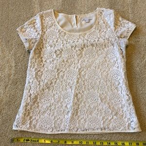Cream lace overlay short sleeved blouse